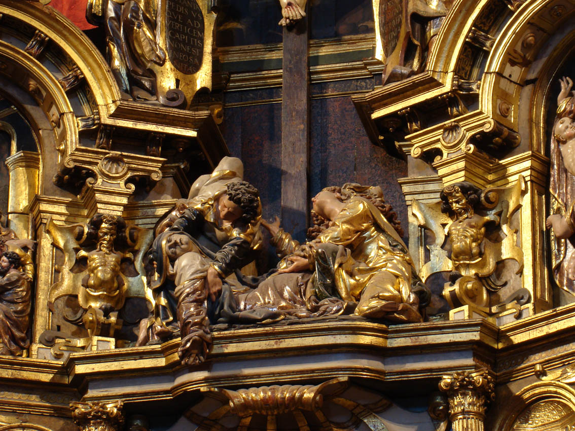 San Juan, la Virgen María y Santa María Magdalena, en el retablo de la Antigua, hoy en la catedral de Valladolid, de Juan de Juni