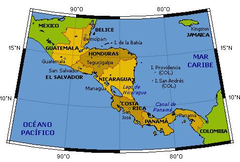 El Salvador Mapa Centroamerica