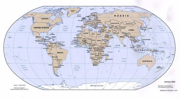mapa del mundo politico. Países del mundo