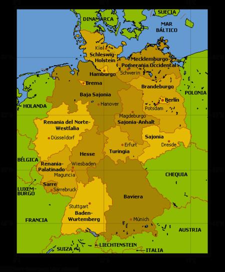 Mapa Politico De Alemania Actual.Alemania Articulo De La Enciclopedia
